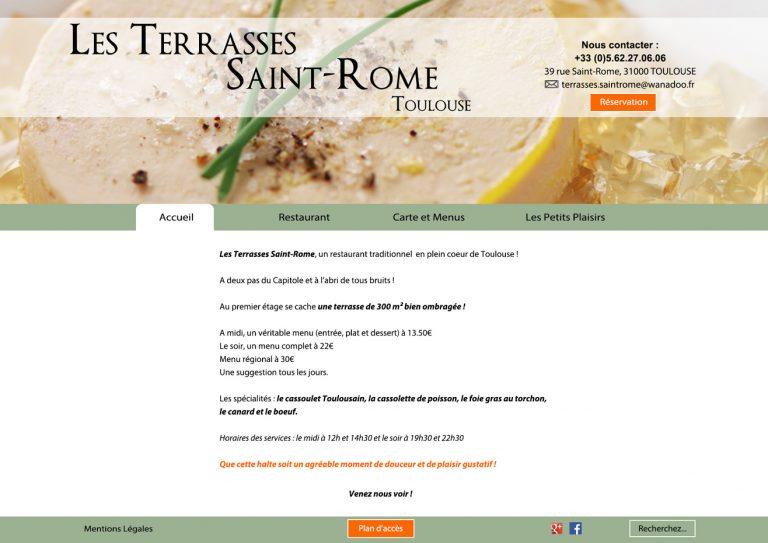 "Maquette - page accueil "" Les Terrasses Saint Rome "" - Excercice formation BGE Toulouse 2015-2016"