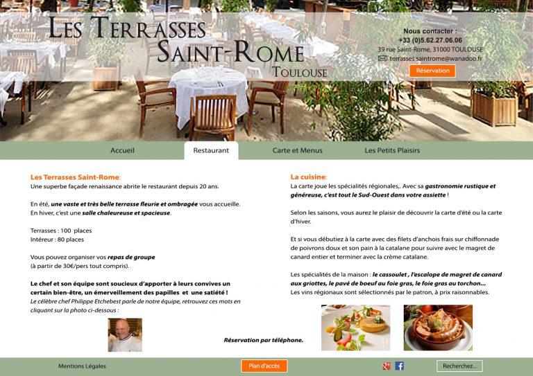 """Maquette - page restaurant """" Les Terrasses Saint Rome """""""