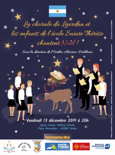 Affiche concert de Noël 2019 - Chorale du Lavedan et Ecole Sainte Thérèse de Tarbes