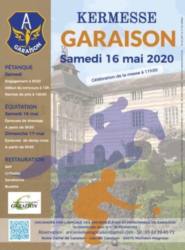 Affiche kermesse 2020 Amicale des Anciens de Garaison