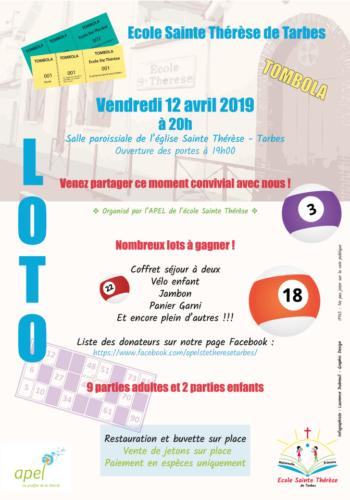 Affiche Loto de l'Apel de l'école Ste Thérèse de Tarbes - 2019