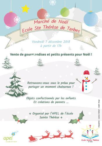 Affiche marché de noël de l'Apel Sainte Thérèse Tarbes - 2018