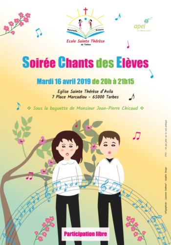 Affiche soirée chants des élèves école Ste Thérèse 2019