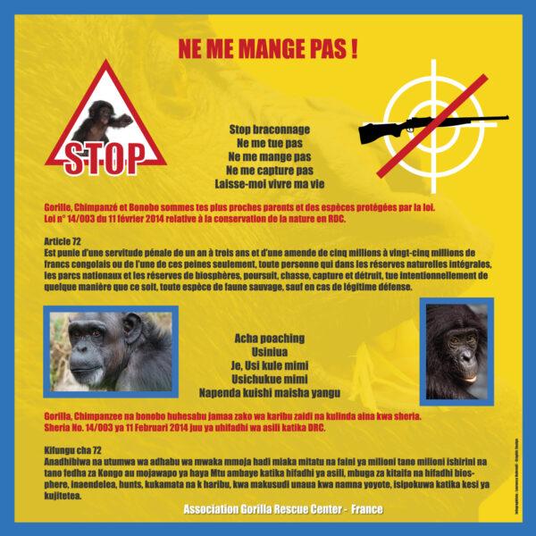 Panneau pour la RDC - Lutte contre le braconnage - 2018